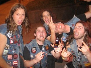 Dudes donning their thrash uniforms - demin and patches
